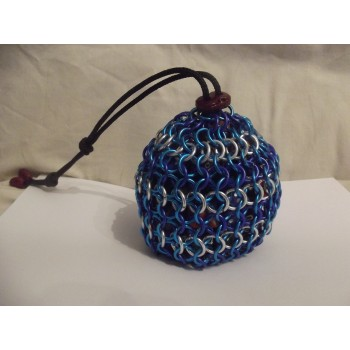 Large Blue and Silver Ocean Themed Chainmaille Dice Bag