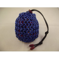 Large Blue Chainmaille Dice Bag