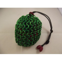 Large Green Chainmaille Dice Bag
