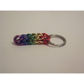 Rainbow Pride Aluminium Chainmaille Key Ring