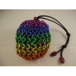 Rainbow Pride Themed Large Chainmaille Dice Bag
