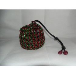 Red and Green Christmas Themed Large Chainmaille Dice Bag
