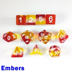 Aurora Gem Embers 11 Dice Set