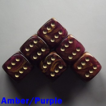 "15mm D6 ""Gold Mist"" Amber/Purple"