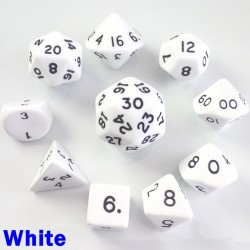 Opaque White 10 Dice Set