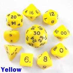Opaque Yellow 10 Dice Set