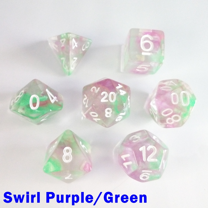 7 Dice RPG Set Storm Swirl Purple/Green pathfinder 5e d&d
