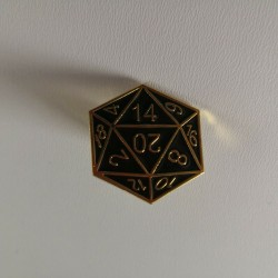 D&D D20 Gold Metal Enamel Pin Badge