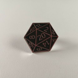 D&D D20 Silver Metal Enamel Pin Badge