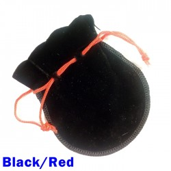 Small Black/Red Faux Suede Drawstring Dice Bag