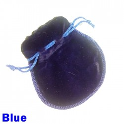 Small Blue Faux Suede Drawstring Dice Bag