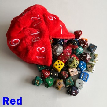Large Red D20 Dice Bag