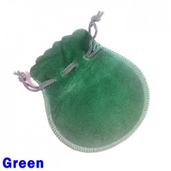 Small Green Faux Suede Drawstring Dice Bag