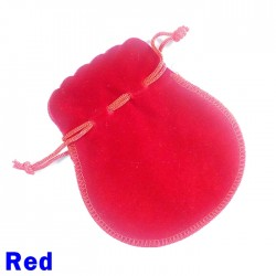 Small Red Faux Suede Drawstring Dice Bag