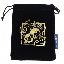 Large Black Dice Bag with Gold Skull Design