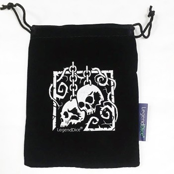 Large Black Dice Bag with Silver Skull Design