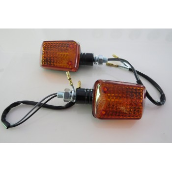 Black Micro Square Mini Indicator Motorbike Kitcar Indicator Amber Short Pair