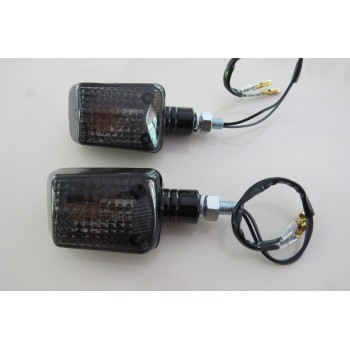 Black Micro Square Mini Indicator Motorbike Kitcar Indicator Smoked Short Pair