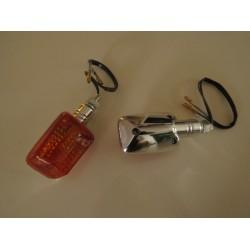 Chrome Micro Square Mini Indicator Motorbike Kitcar Indicator Amber Short Pair